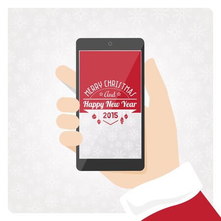 holding smart phone: Santa claus holding mobile smart phone with text and copyspace.