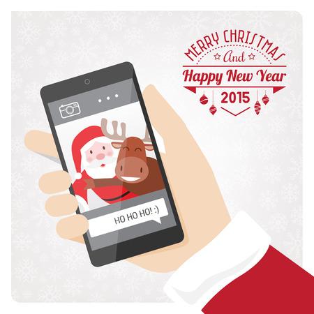 weihnachtsmann lustig: Weihnachtsmann, die ein Selfie mit einem Rentier mit einem Smartphone.