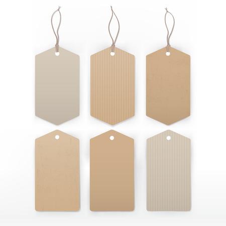 papel reciclado: Etiquetas del vintage con la raya con artículos variados dibujados a mano alimentos. Vectores