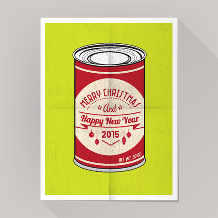 Pop can christmas grunge poster on lime background