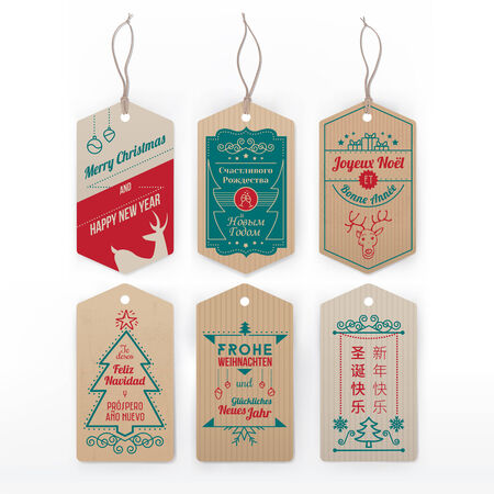 Vintage labels and tags with stripes and christmas greeting in english, german, french, spanish, russian and chinese.