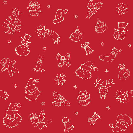 glooming: Christmas sketch seamless pattern with hand drawn decorations