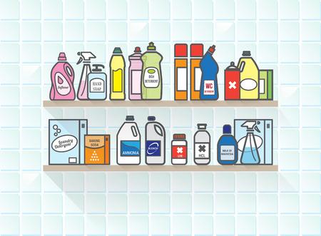 productos quimicos: Detergentes establecen en baño estante incluyendo diferentes tipos de envases