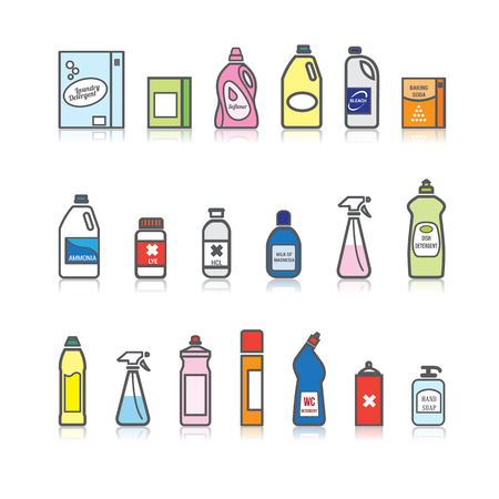 amoniaco: Detergentes establecidos para la limpieza, loudry e higiene casa Vectores