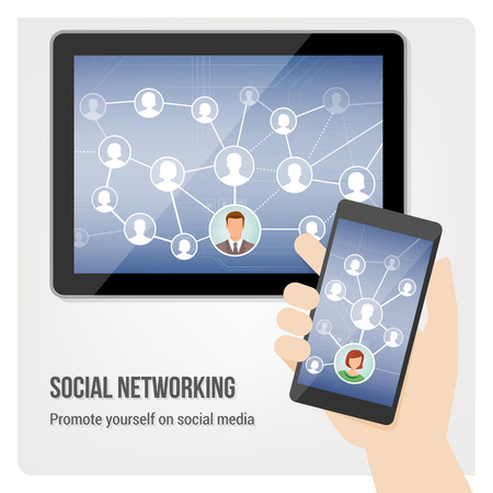 social gathering: Hand holding smartphone and tablet with social media network app interface