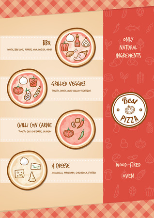 Pizza menu with different toppings and tastes