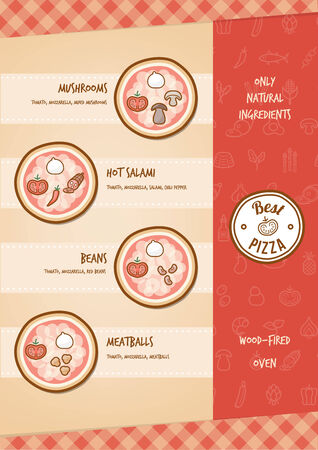 tastes: Pizza menu with different toppings and tastes