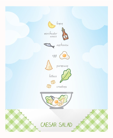Caesar salad recipe with ingredients falling in a bowl on a checked tablecloth, sky on background