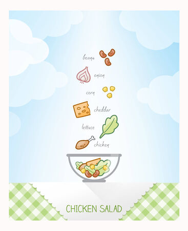 checked: Chicken salad recipe with ingredients falling in a bowl on a checked tablecloth, sky on background