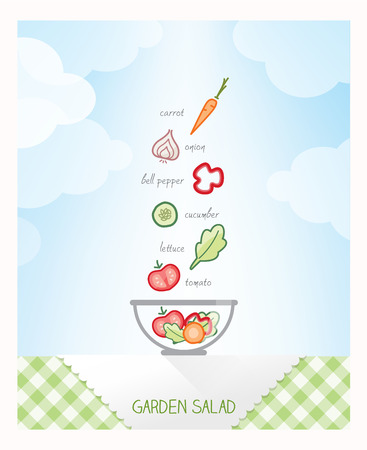 Garden salad recipe with ingredients falling in a bowl on a checked tablecloth, sky on background