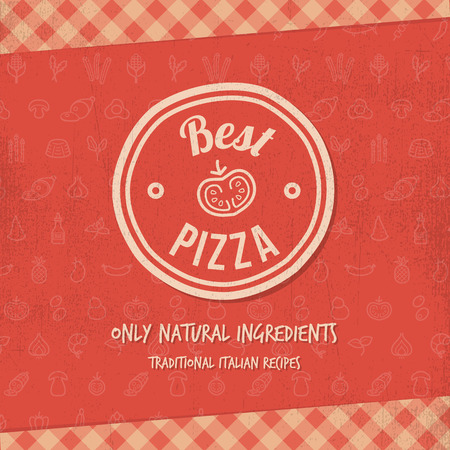 pizza: Best pizza sign or menu cover with grunge texture