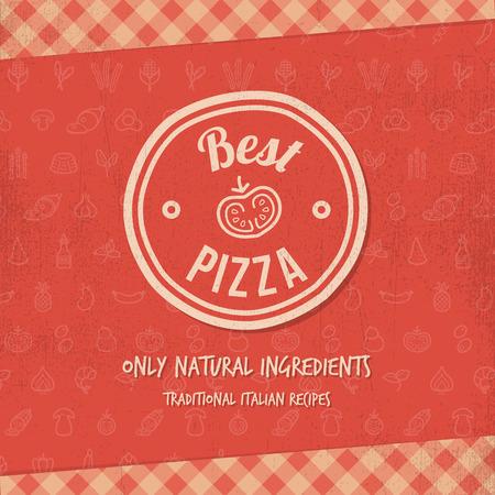 grunge 텍스처와 최고의 피자 기호 또는 메뉴 커버 일러스트