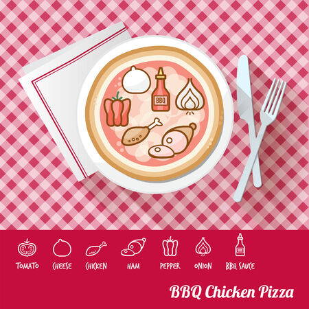 name plates: BBQ chicken pizza on a dish with icon ingredients and recipe name at bottom