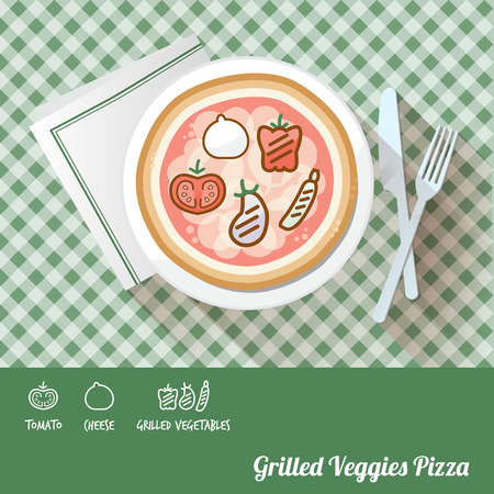 grilled vegetables: Pizza on a dish with icon ingredients and recipe name at bottom Illustration