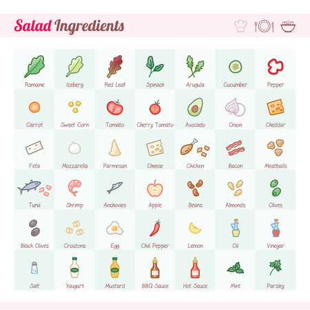 Salad recipe ingredients icons set with text