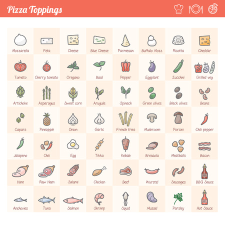 shrimp: Pizza traditional toppings variety icons set for different recipes Illustration