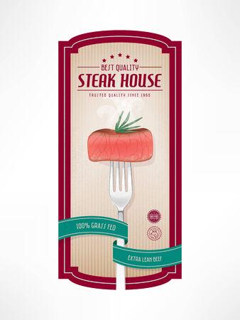Viande de boeuf vintage label avec une fourchette et steak succulent