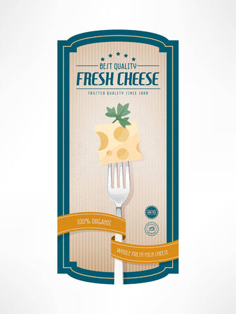 To quality cheese vintage grunge label with fork and badges