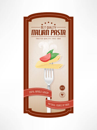 Pasta vintage food lable with fork on striped background Illustration