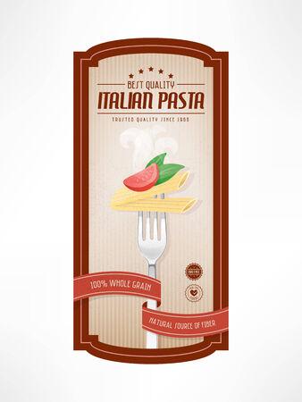 Pasta étiquette alimentaire vintage avec fourche sur fond rayé