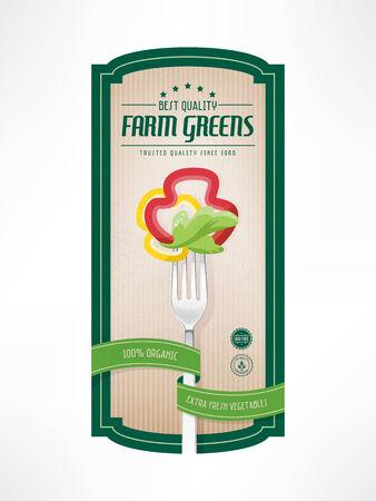 Vegetables vintage label with fork, sliced pepper and salad, badges and striped background Illustration