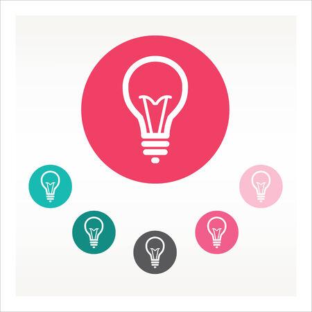 hint: Flat bulb icon vector color set