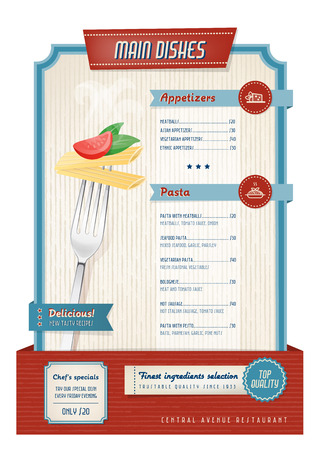 appetizers menu: Vintage main course menu with fork and pasta Illustration