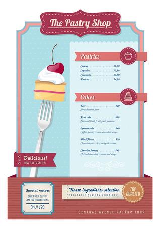 tarte aux cerises: Vintage p�tisseries et bonbons menu avec fourche et tarte aux cerises