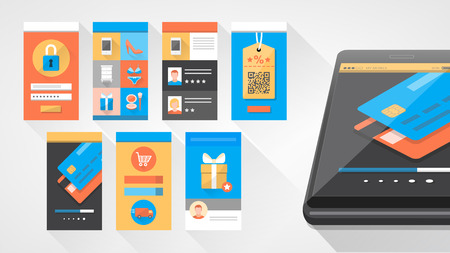mobile phone: User interface shopping set for smartphone and mobile with icons set Illustration