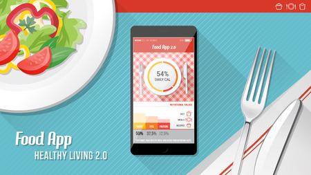 comida sana: Aplicaci�n de Alimentos en el tel�fono m�vil de pantalla t�ctil con ensalada plato, cuchillo ad tenedor