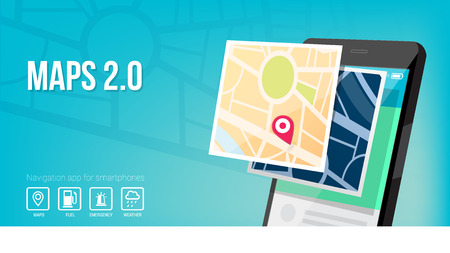 nav: Navigation system and maps app for smartphone and mobile banner Illustration