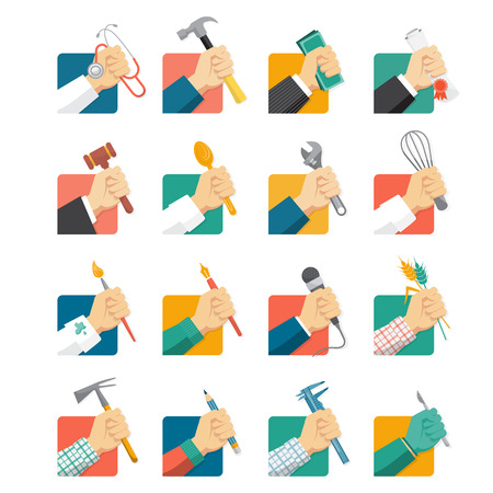 Jobs avatar icons set with hands and tools Vettoriali