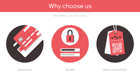 low cost: Online shopping on website flat illustrations set