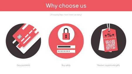Online shopping on website flat illustrations set