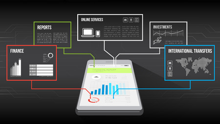lenders: Smartphone with web and financial data frames on top
