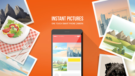 Pictures camera app on smartphone with instant pictures all around Illustration