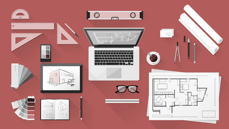 drafting: Architect and designer desk with tools, tablet and computer Illustration