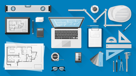 作業工具、タブレットやラップトップを持つ Contruction エンジニア リング デスクトップ