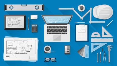 Constructie ingenieur desktop met uitrustingsstukken, tablet en laptop Stock Illustratie