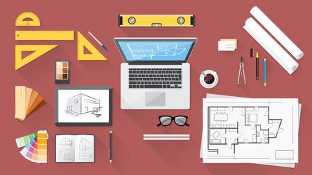 arquitecto: Arquitecto y diseñador de escritorio con herramientas, tableta y ordenador Vectores