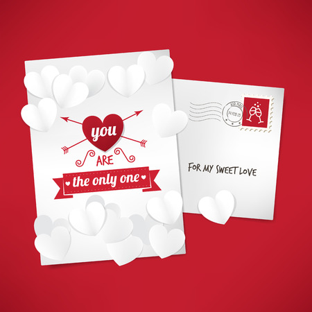 promising: You are the only one love letter card with envelope and paper hearts