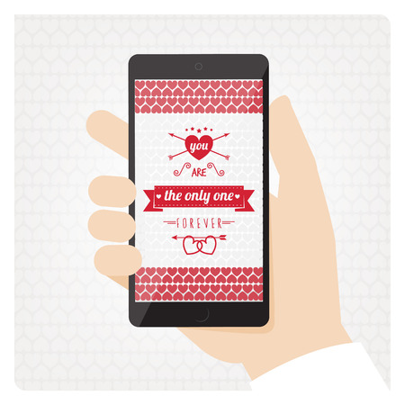 St Valentines mobile phone with love message Vector