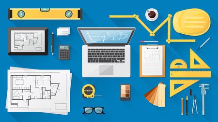 architect: Escritorio Ingeniero de construcción con herramientas de trabajo, tablet y laptop