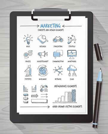 international monitoring: Hand drawn marketing icons and concepts on a sheet with clipboard and pen