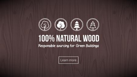 Bandera de madera natural con el fondo y los iconos de textura conjunto