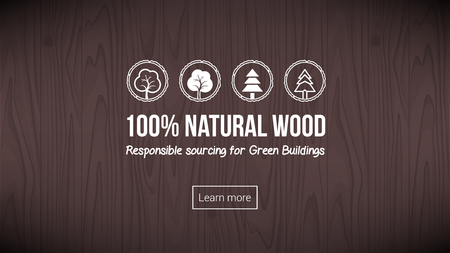 Natural wood banner with textured background and icons set Ilustrace