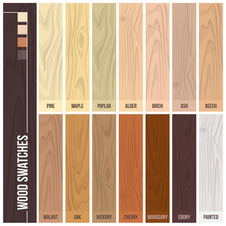 ebony tree: Wood swatches color set with different plants and hues