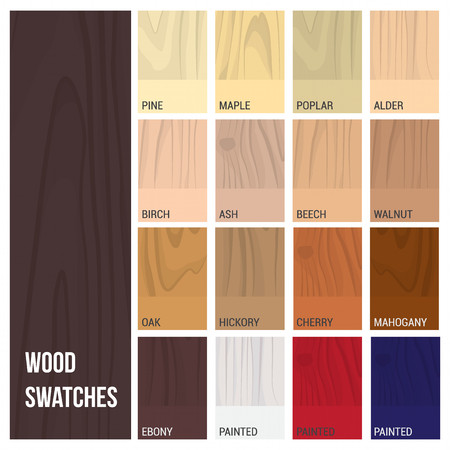 cherry hardwood: Wood swatches color set with different material and finishing types Illustration