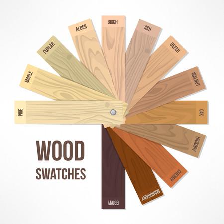 caoba: Muestras redondas de madera con diferentes tonalidades y acabados