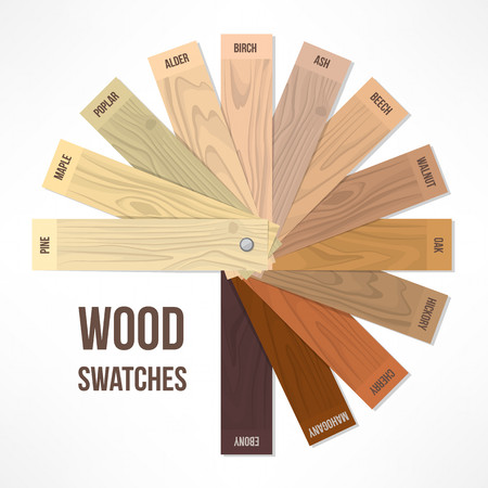 hues: Wood round swatches with different hues and finishings Illustration